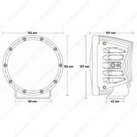"""Фары дальнего света RIGID 360 series 6"""", белая подсветка"""